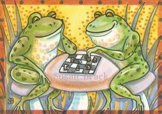 CHECK MATE - Who knew frogs play chess!  Susan Brack Original Art ACEO EBSQ CP Licensing