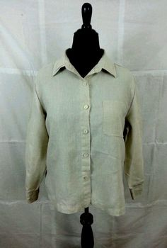 Women's Shirt Blouse Large Long Sleeves Beige Casual Dress Pockets  #Units #ButtonDownShirt #Any