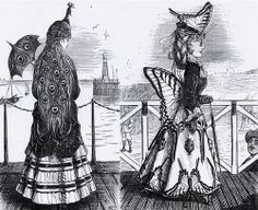 Punch's Designs After Nature, peacock and butterfly hats, 1870s