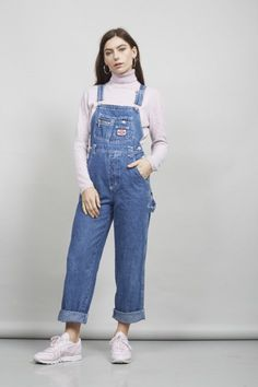 Vintage blue dungarees in denim fabric by Revolt. Dungarees Outfits, Denim Dungarees, Denim Jumpsuit, Flare Pants Pattern, Fitted Denim Shirt, Salopette Jeans, Green Mini Skirt, Maje, Denim Fabric