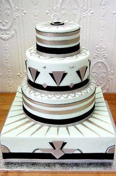 Gold, silver, and black groom's cake #wedding #groom #gatsby #gold #cake #artdeco