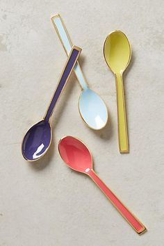 Brass-Trimmed Ice Cream Spoons - anthropologie.com