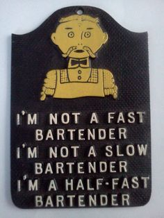 Humorous Handlebar Mustache Bartender Metal by TheCrowdedHouse, $12.00