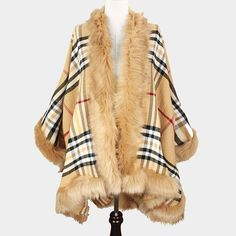 Fur Trimmed Beige Plaid Wrap Cape. Free shipping and guaranteed authenticity on Fur Trimmed Beige Plaid Wrap Cape at Tradesy. Chic…