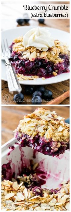 This blueberry crumble is a must-try recipe! Easy to make and absolutely delicious with layers of plump blueberries & crumbly topping @NatashasKitchen
