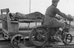 Ingenious contraption for transporting the wounded: Railroad motorcycle!