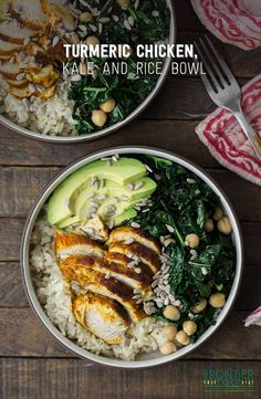 This rice bowl packs the goodness of turmeric chicken, kale, garlic, chickpeas and avocado into one simple recipe!