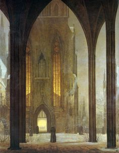 ariesascending:  Ernst Ferdinand Oehme Cathedral in winter, 1821