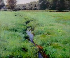 """""""The Brook, Medfield,"""" Dennis Miller Bunker, 1889, oil on canvas, 25 x 30"""", private collection."""