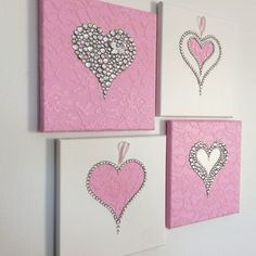 me ~ Hearts Wall Art. Set of four pink and white girls room handmade canvasses White Girls Rooms, Pink Bedroom For Girls, Hanging Wall Art, Diy Wall Art, Diy Art, Valentines Day Decorations, Valentine Crafts, Diy Craft Projects, Diy Crafts For Kids