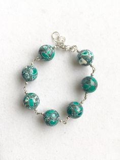 Silver and Green Mosaic Bracelet by RedSilentWolfJewelry on Etsy