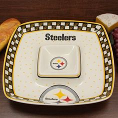 Pittsburgh Steelers Gameday Square Chip & Dip Serving Tray