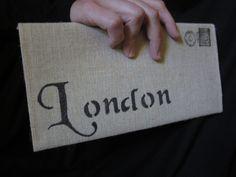 London Cotton Canvas Envelope Bag  city bag. $20.00, via Etsy.