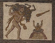 (Anonymous), Hercules delivering the Erymanthian boar to Eurystheus (201-250 CE, opus tessellatum mosaic). Llíria (Valencia, Spain); now in Museo Arqueológico Nacional de España, Madrid 38315 BIS.