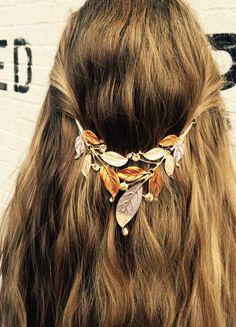 Hair jewelry, Hair accessory, Tribal head chain, brown Vintage hippie head piece. Boho hair band, leaf design by BellaViaDesigns on Etsy https://www.etsy.com/listing/235579216/hair-jewelry-hair-accessory-tribal-head