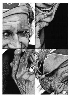 Stippling Art / Pontilhismo - Keith Richards - Desenho sobre papel - 50x70cm - Fine Art (giclée) - numerado e assinado pelo artista - acompanha certificado de autenticidade.