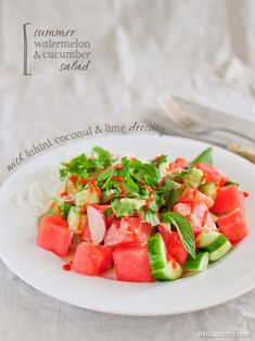 Watermelon Cucumber Salad with Tahini, Coconut & Lime Dressing (raw, vegan)