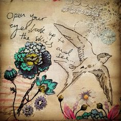 Hand stitched mixed media swallow by Emily Henson queen lyrics textile art