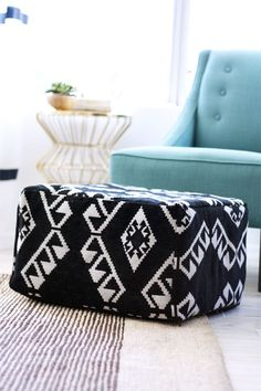 Diy west elm pouf from 3 ikea rugs easiest tutorial ive seen so diy pouf solutioingenieria Choice Image