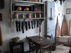 FARMHOUSE – INTERIOR – vintage early american farmhouse showcases raised panel walls, barn wood floor, exposed beamed ceiling, and a simple style for moulding and trim, like in this farmhouse in dirty gourd farmstead.