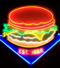 Neon burger in newport Neon Moon, Vintage Neon Signs, All Of The Lights, Sign Lighting, Neon Light Signs, Light Art, Neon Colors, Signage, Glow