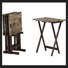 Linon Home Decor Tray Table Set Faux Marble Brown Custom Wood Tray Side  Table Black Urb