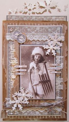 Julekort (Christmas card) by Anne Gro at Min Lille Scrappe-verden. Beautiful Christmas Cards, Vintage Christmas Cards, Xmas Cards, Vintage Cards, Handmade Christmas, Fabric Postcards, Card Making Kits, Vintage Scrapbook, Victorian Christmas