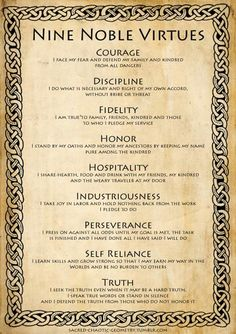 Nine Noble Virtues include nine moral and life-changing codes that can guide anyone to a life of manner of dignity. This is the great Viking spirit. Citations Viking, Writing Prompts, Writing Tips, Wisdom Quotes, Life Quotes, Qoutes, Viking Quotes, Viking Sayings, Motivational Quotes