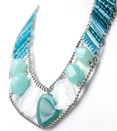 Kandace Teal Acrylic Necklace - This Prima Bead necklace project was hand designed by our design team. [$0]