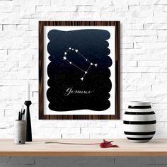 Gemini Zodiac Constellation Wall Art Printable 8x10 Instant
