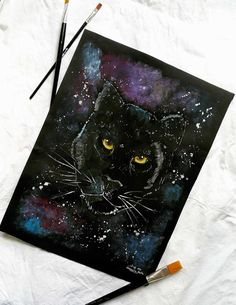 Black puma painting Acrylic painting by MagicMintHandmade on Etsy Amazing Artwork, Cool Artwork, French Paintings, Original Paintings, Wall Art Decor, Wall Art Prints, Black Puma, Awards 2017, Decor Ideas