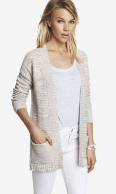CHUNKY MARLED KNIT COVER-UP from EXPRESS w/light blue long sleeve burnout shirt and white skinny jeans