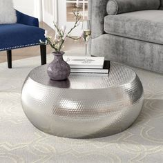 Discover thousands of images about Willa Arlo Interiors Dunbar Coffee Table Hammered Coffee Table, Drum Coffee Table, Unique Coffee Table, Coffee Table Wayfair, Coffee Table With Storage, Round Coffee Table, Decorating Coffee Tables, Tire Furniture, Furniture Design