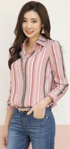 StyleOnme_Pinstripe Collared Blouse #pink #pinstripe #collared #blouse #koreanfashion #kstyle #kfashion #springtrend #dailylook