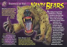 The knowledge card says Nandi Bears. The trading card says Nandi Bear. Only, it has the Gold Attack Power variation. Myths & Monsters, Monster Book Of Monsters, Monster Art, Creepy Facts, Wtf Fun Facts, Mythological Creatures, Mythical Creatures, Adventure Magazine, Wild Creatures