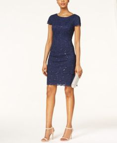Alex Evenings Cap-Sleeve Sequined Lace Sheath Dress | macys.com