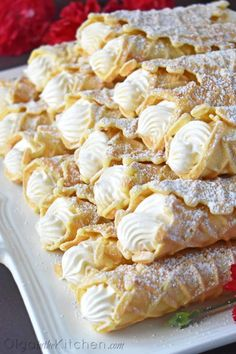 Cream Filled Pizzelles (Trubochki) - Olga in the Kitchen Pizzelle Cookies, Pizzelle Recipe, Cannoli Recipe, Cookies Et Biscuits, Cookie Desserts, Just Desserts, Delicious Desserts, Dessert Recipes, Yummy Food