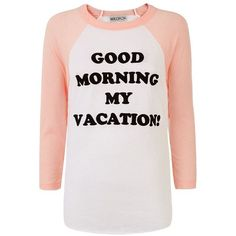 Wildfox Good Morning Vacation Baseball T-Shirt ($99) ❤ liked on Polyvore featuring tops, t-shirts, raglan tee, raglan sleeve baseball tee, wildfox tee, baseball t shirt i jersey tee