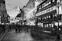 Grafton Street At Night / Dublin Canvas Print / Canvas Art By Barry O Carroll Grafton Street, Canvas Art, Canvas Prints, Dublin City, Popular Photography, Photo Black, Black And White Photography, Fine Art America, Scenery