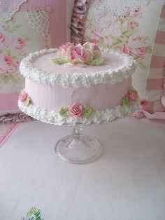 Faux Shabby Pink Roses Cake with Stand by sweetnshabbyroses, via Flickr