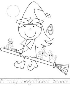 coloring sheet for room on the broom (with handwriting practice for kids)