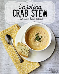 Bless'er House: Recipe: Carolina Crab Stew (Our Family's Secret). Looks and sounds soooo good, and is relatively easy to make. Crab Recipes, Soup Recipes, Cooking Recipes, Recipies, Dinner Recipes, Chili Recipes, Brocolli Recipes, Quorn Recipes, Dinner Ideas