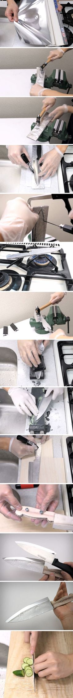 Youtuber Kiwami Japan looked at his roll of aluminum foil as not really a finished product but rather as a source of raw material. Doing something rather remarkable, he turned the foil back into a 4mm thick sheet of aluminum… and then carved a rather sharp and useful kitchen knife out of it.