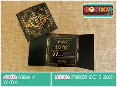 Invitación de Gatsby - XV años… Podemos personalizarla con cualquier tema! • Gatsby invitation - Sweet 16... We can personalize it with any party theme!