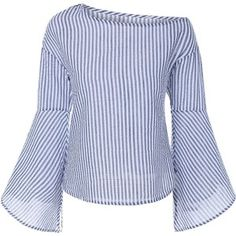 Asymmetrical Bell Sleeve Striped Blouse