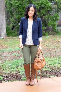 Navy, Olive, and Dots