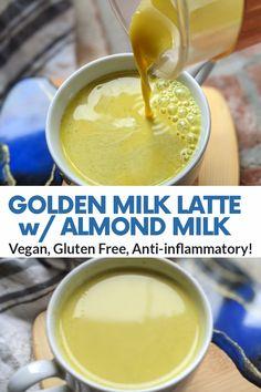 Almond Milk Latte, Golden Milk Latte, Almond Milk Recipes, Vegan Recipes, Pumpkin Spice Bread, Dairy Free, Gluten Free, Detox Tips, Latte Recipe