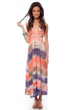 Don't Dye On Me Maxi Dress in Brown and Coral. Love it!
