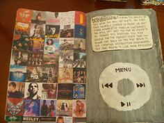 I'm obsessed with music, therefore, I do enjoy this idea of painting this page in my book as an iPod..<3