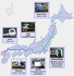Major JR lines, stations, airports throughout JAPAN